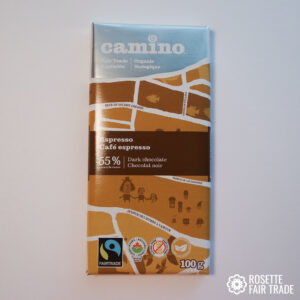 Espresso dark chocolate by Camino on Rosette Fair Trade
