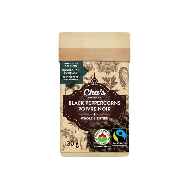 Cha's Organics black pepper (whole peppercorns) is available at Rosette Fair Trade's online store