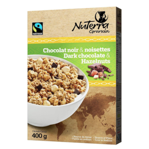 NuTerra dark chocolate and hazelnut granola is available on Rosette Fair Trade's online store