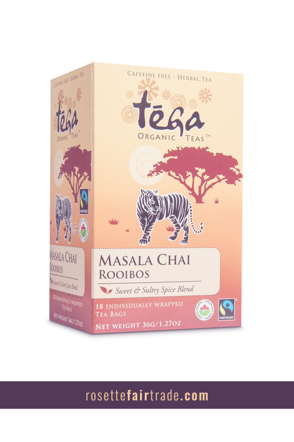 Fairtrade masala chai rooibos tea by Tega Organic Tea on Rosette Fair Trade (Pinterest)