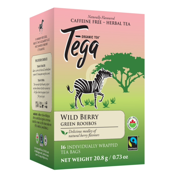 Tega Organic Teas Wildberry green rooibos fair trade organic tea on Rosette Network