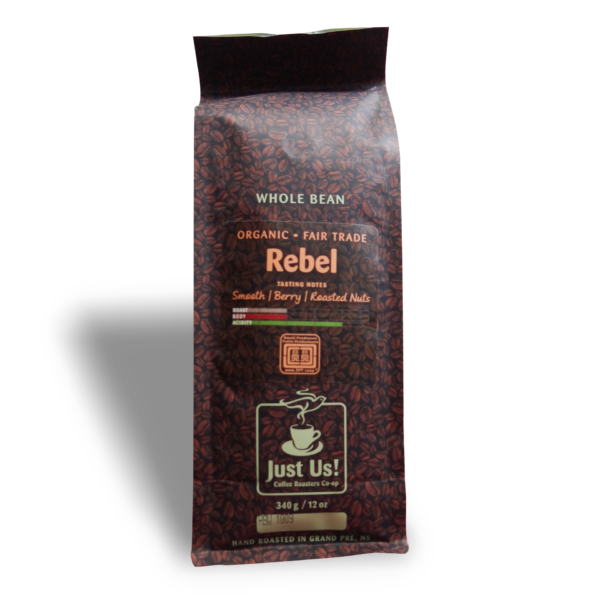 Fairtrade medium roast coffee (Rebel) by Just Us Coffee available on Rosette Fair Trade online store English