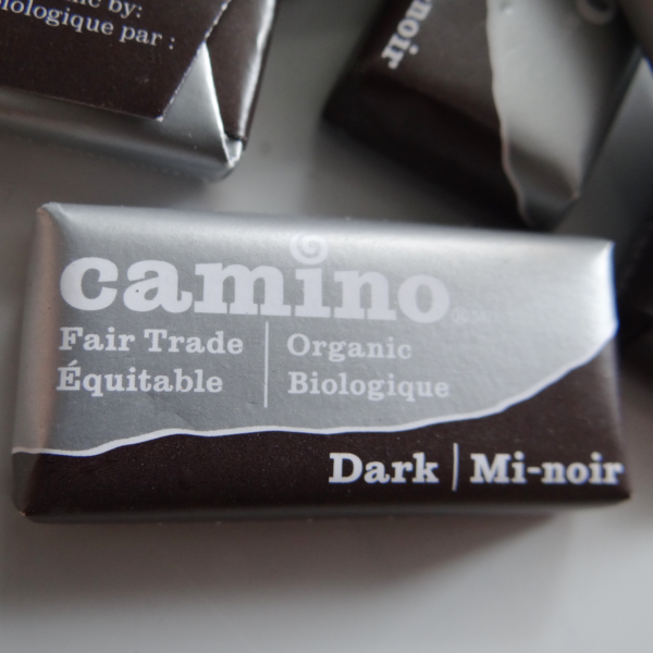 Fairtrade mini dark chocolates (55%) by Camino available on Rosette Fair Trade's online store (front)