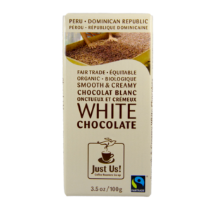 Fairtrade white chocolate by Just Us Coffee available on Rosette Fair Trade online store