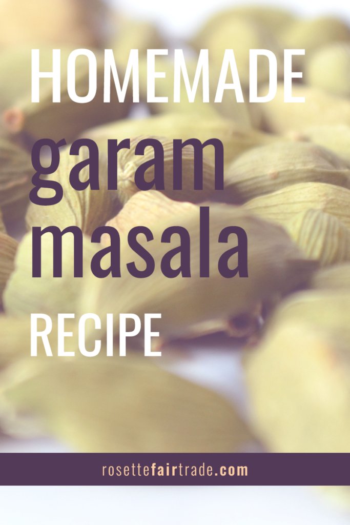 Homemade garam masala spice blend recipe (vegan) with cinnamon, cardamom, peppercorns, nutmeg, coriander, cumin and cloves