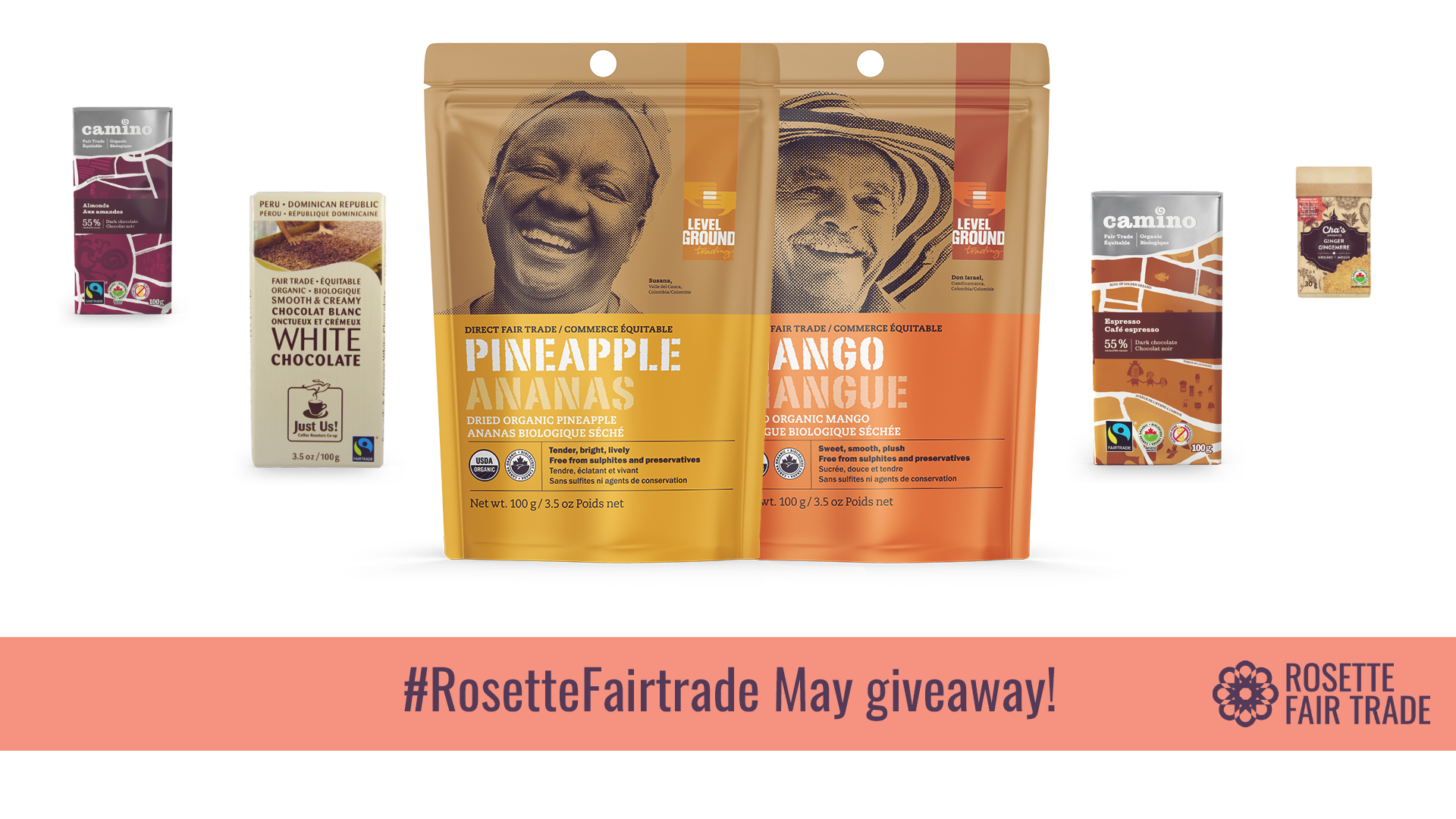 Fair trade giveaway from the Rosette Network featuring fair trade products from Level Ground, Camino Just Us Coffee and Cha's Organics!