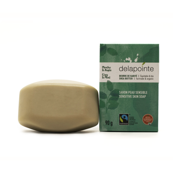 Mint clay bar soap (fairtrade shea butter) by Delapointe on Rosette Fair Trade
