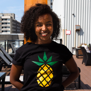 Black fair trade organic t-shirt (pineapple design) on Rosette Fair Trade