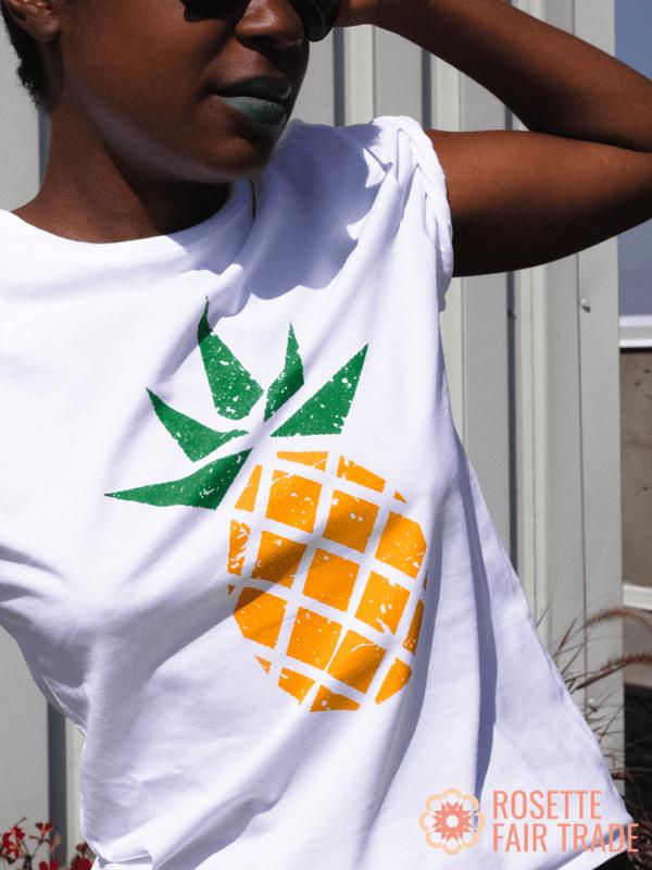 White fair trade organic t-shirt (pineapple design) on Rosette