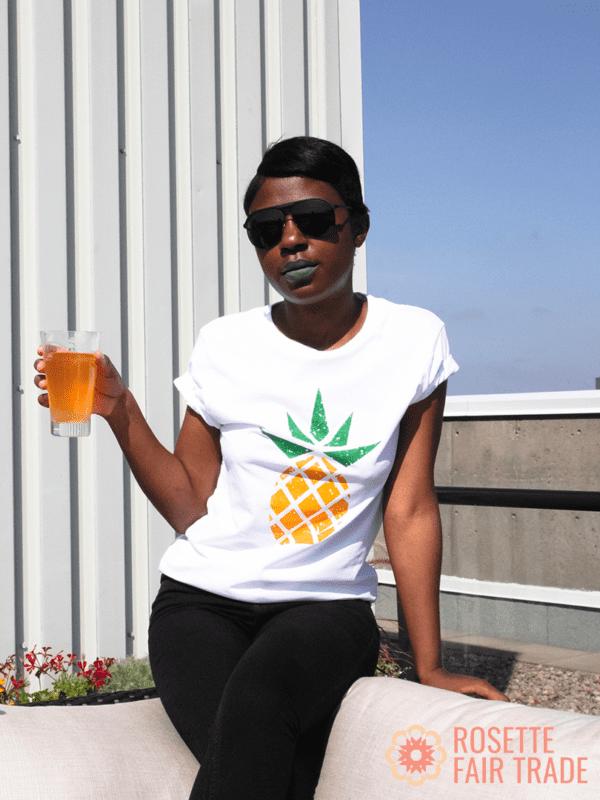 White fair trade organic t-shirt (pineapple design) on Rosette Fair Trade