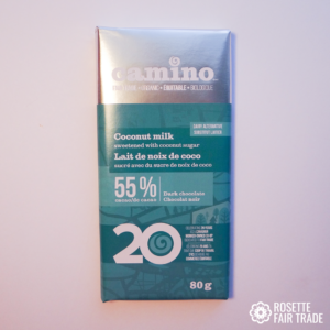 Coconut milk dark chocolate by Camino on Rosette Fair Trade