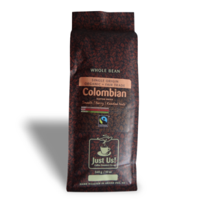Just Us Colombian coffee (medium roast, fair trade, organic) on Rosette Fair Trade