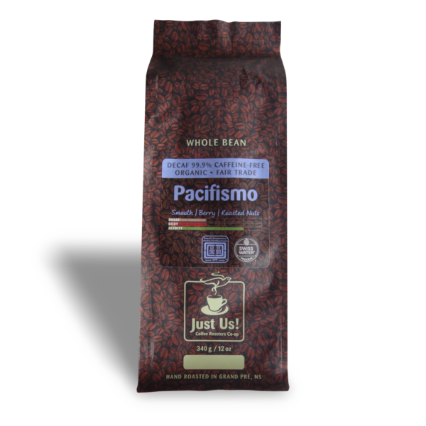 Just Us Pacifismo decaf coffee (fair trade, organic) on Rosette Fair Trade