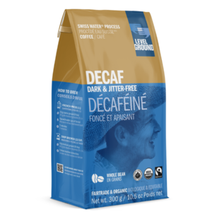 Level Ground decaf coffee (Colombian dark roast) on Rosette Fair Trade