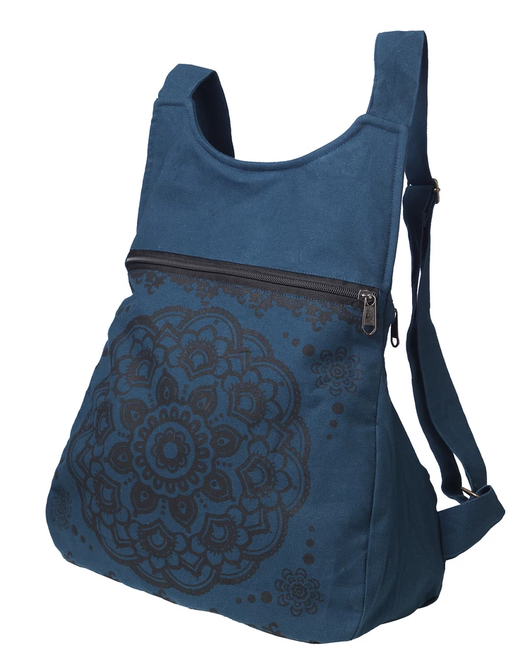 Fair trade backpack (octa) by Ark Imports in teal colour on Rosette Fair Trade