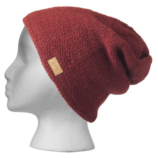 Fair trade slouchy hat (Parkdale) by Ark Imports in burgundy colour on Rosette Fair Trade