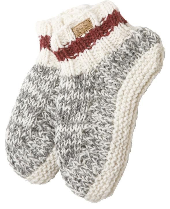 Knit adult booties (Cabin) from Ark Imports in grey colour on Rosette Fair Trade