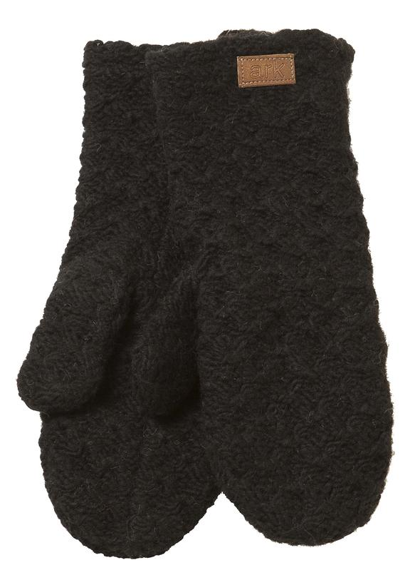 Soft wool mittens (Honeycomb) by Ark Imports in black colour on Rosette Fair Trade