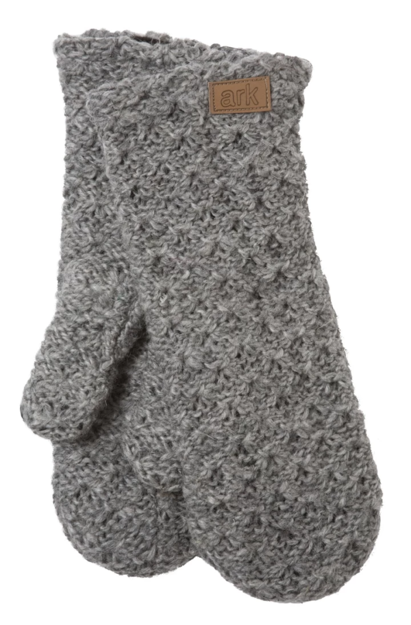 Soft wool mittens (Honeycomb) by Ark Imports in grey colour on Rosette Fair Trade