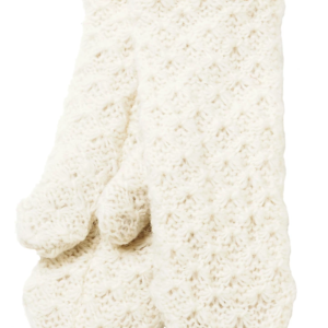 Soft wool mittens (Honeycomb) by Ark Imports in white colour on Rosette Fair Trade