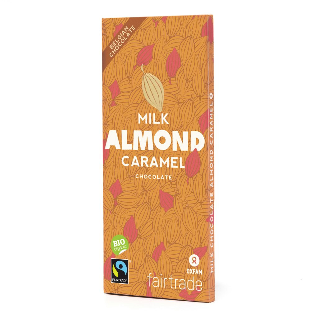 Belgian milk chocolate with caramel almonds (100g) on Rosette Fair Trade online store