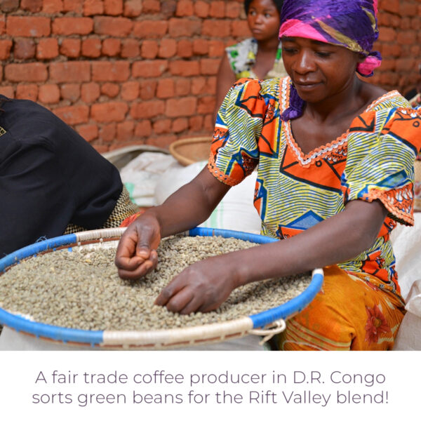 A fair trade coffee producer in D.R. Congo sorts green beans for the Level Ground Rift Valley blend (Rosette Fair Trade)
