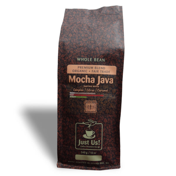 Just Us Mocha Java medium roast coffee blend on Rosette Fair Trade