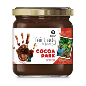 Oxfam Fair Trade dark chocolate sandwich spread on Rosette Fair Trade
