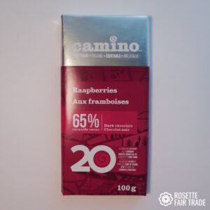 Raspberry dark chocolate by Camino on Rosette Fair Trade