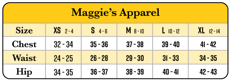 Maggie's Organics apparel size chart