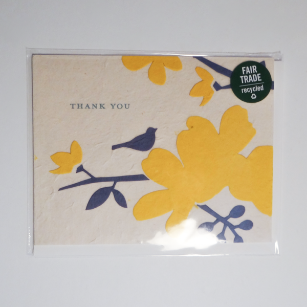 Fair trade blooming thank you handmade card (front) by Good Paper on Rosette Fair Trade