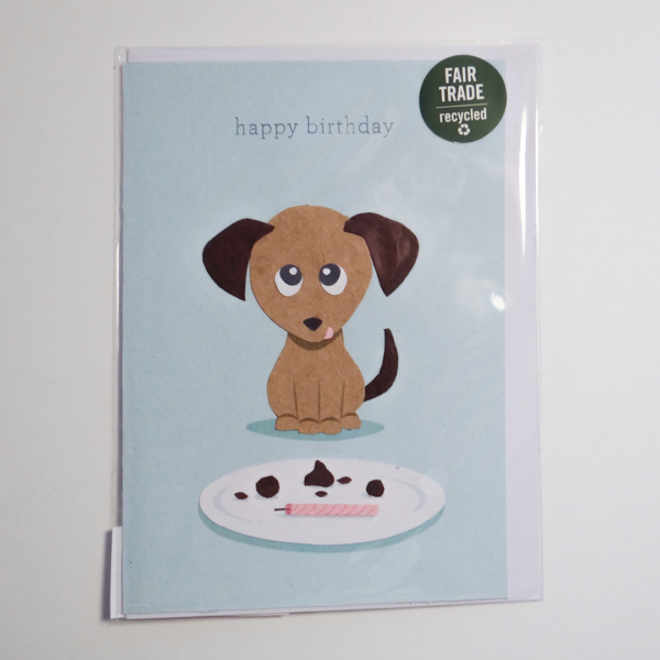 Fair trade happy birthday puppy handmade card (front) by Good Paper on Rosette Fair Trade