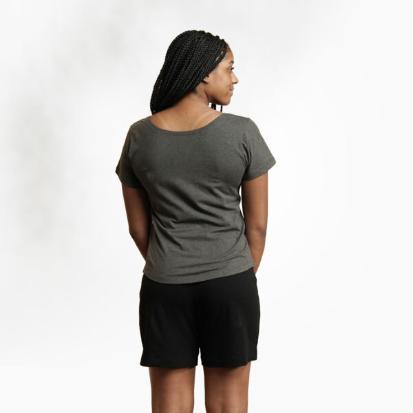 Organic cotton women's t-shirt by Maggies Organics (charcoal gray) on Rosette Fair Trade