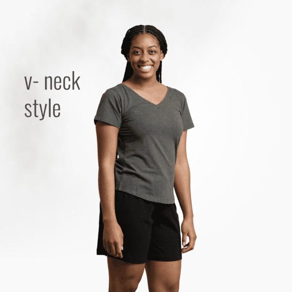 Organic cotton womens t-shirt by Maggies Organics (charcoal gray, v-neck) on Rosette Fair Trade