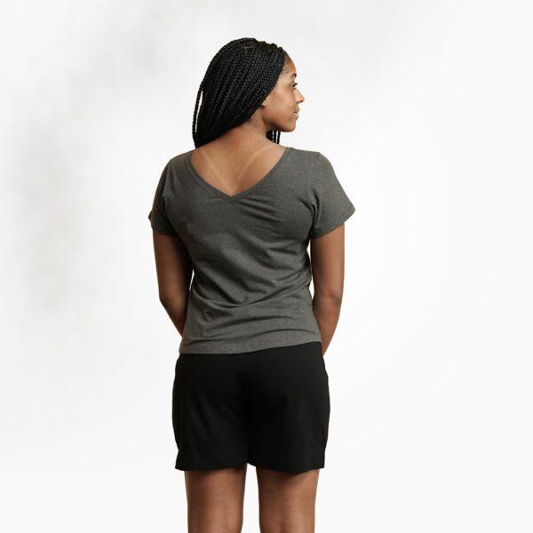 Organic cotton women's t-shirt by Maggies Organics (charcoal grey) on Rosette Fair Trade