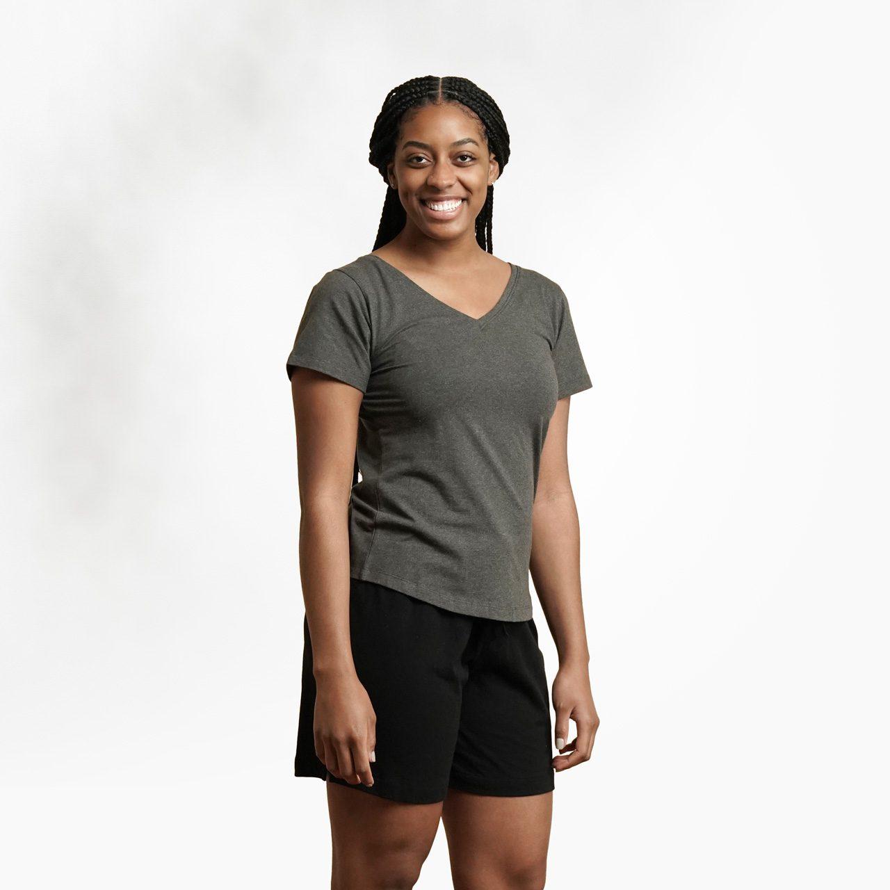Organic cotton womens t-shirt by Maggies Organics (charcoal grey) on Rosette Fair Trade