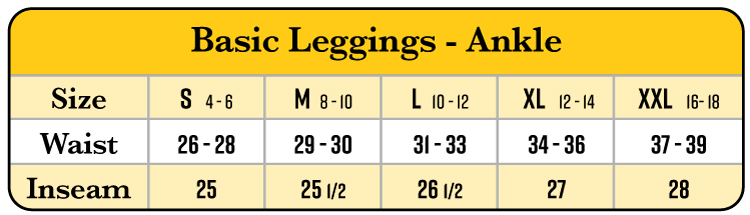 Basic leggings size chart (Maggie's Organics) on Rosette Fair Trade