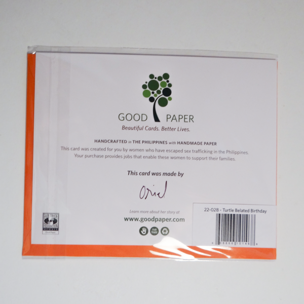Fair trade belated birthday handmade card (back) by Good Paper on Rosette Fair Trade