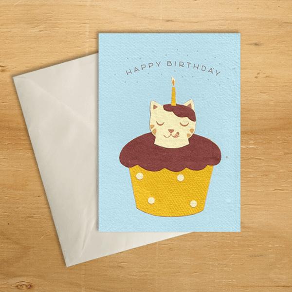 Fair trade chocolate cat birthday handmade card by Good Paper on Rosette Fair Trade