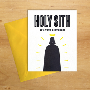Fair trade holy Sith birthday handmade card by Good Paper on Rosette Fair Trade