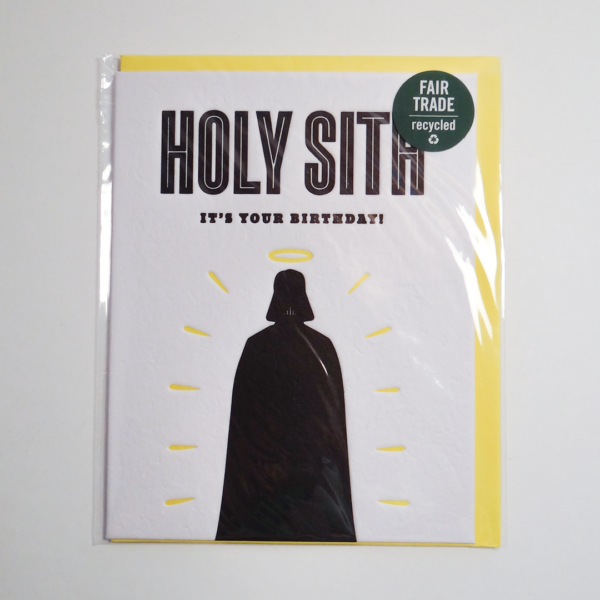 Fair trade holy Sith birthday handmade card (front) by Good Paper on Rosette Fair Trade