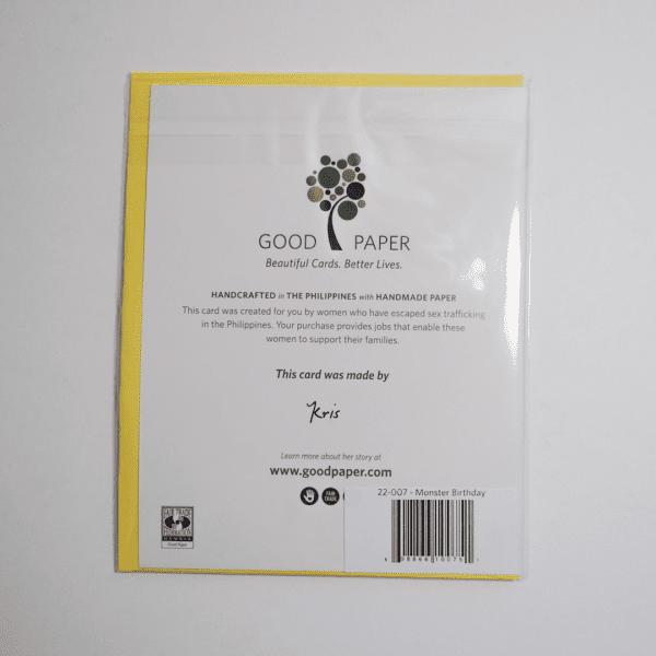 Fair trade monster birthday handmade card (back) by Good Paper on Rosette Fair Trade