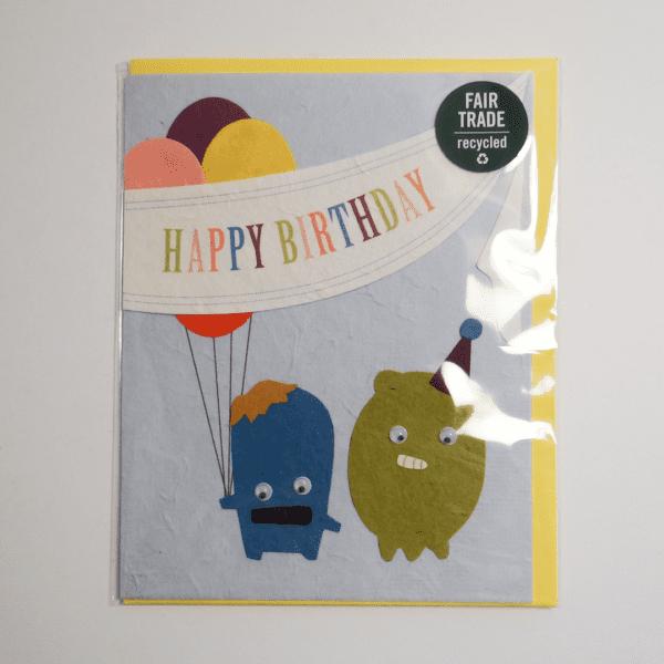 Fair trade monster birthday handmade card (front) by Good Paper on Rosette Fair Trade