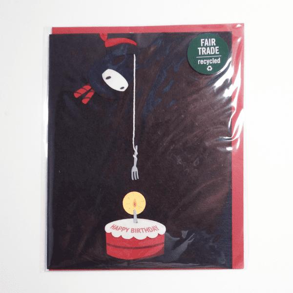 Fair trade ninja birthday handmade card (front) by Good Paper on Rosette Fair Trade