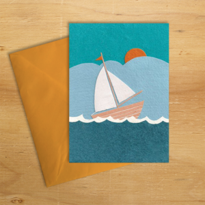 Fair trade sail away blank handmade card by Good Paper on Rosette Fair Trade