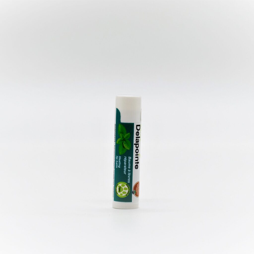 Organic mint lip balm by Delapointe on Rosette Fair Trade online store