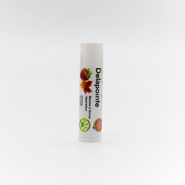 Strawberry-maple lip balm by Delapointe on Rosette Fair Trade online store