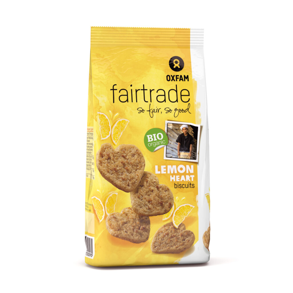 Organic lemon heart biscuits by Oxfam Fair Trade on Rosette Network online store