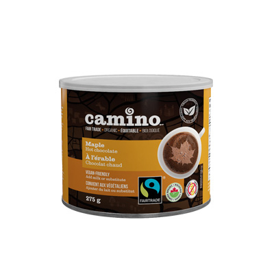 Camino Maple hot chocolate (vegan, organic) on Rosette Fair Trade