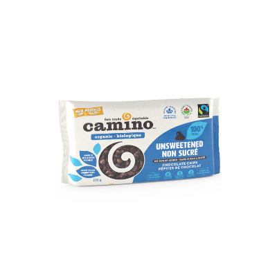 Camino unsweetened chocolate chips (organic, vegan, gluten free, sugar free) on Rosette Fair Trade